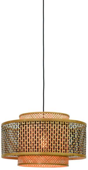 Hanglamp Bhutan bamboe dia.50x30cm zw./nat. L Good & Mojo Hanglamp BHUTAN/H/5030/BN