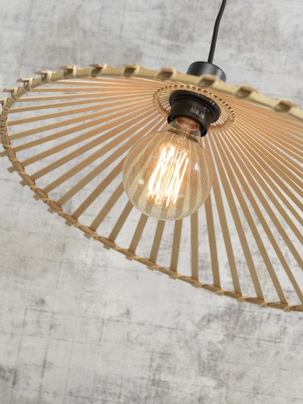 Hanglamp Bromo bamboe asymm. dia.40x11cm naturel, S Good & Mojo Hanglamp BROMO/H40/N