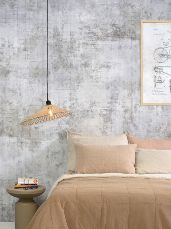 Hanglamp Bromo bamboe asymm. dia.50x12cm naturel, M Good & Mojo Hanglamp BROMO/H50/N