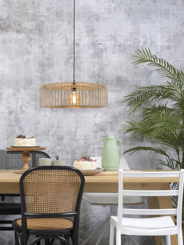Hanglamp Bromo bamboe rond dia.60x18cm naturel, L Good & Mojo Hanglamp BROMO/H/6018/N