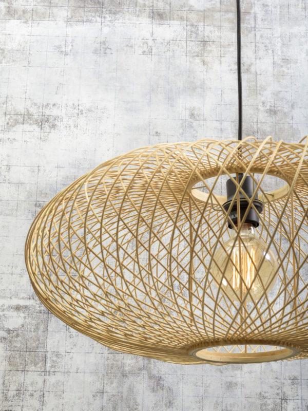 Hanglamp Cango bamboe ellips dia.60x25cm naturel Good & Mojo Hanglamp CANGO/H/6025/N