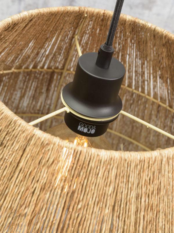 Hanglamp Iguazu jute taps dia.60x50cm, naturel Good & Mojo Hanglamp IGUAZU/H/6050/N