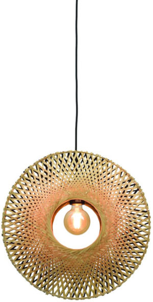 Hanglamp Kalimantan verticaal dia.44x12cm zw./nat. S Good & Mojo Hanglamp KALIMANTAN/H/4412/BN