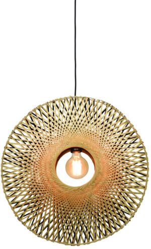 Hanglamp Kalimantan verticaal dia.60x15cm zw./nat. M Good & Mojo Hanglamp KALIMANTAN/H/6015/BN