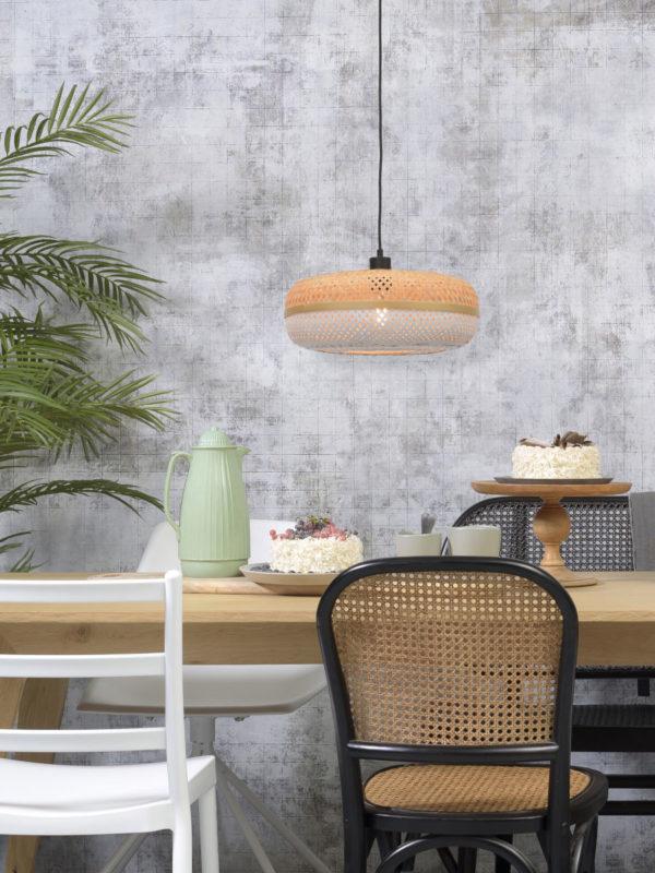 Hanglamp Palawan bamboe 40x15cm nat./wit, S Good & Mojo Hanglamp PALAWAN/H/4015/WN
