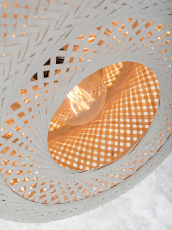 Hanglamp Palawan bamboe 60x15cm nat./wit L Good & Mojo Hanglamp PALAWAN/H/6015/WN