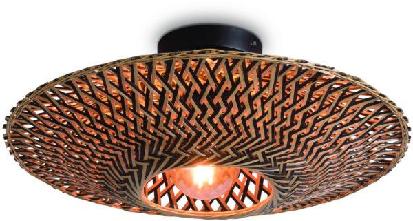Plafonniere Bali bamboe dia.44x12cm zwart/naturel, S Good & Mojo Plafondlamp BALI/C/4412/BN