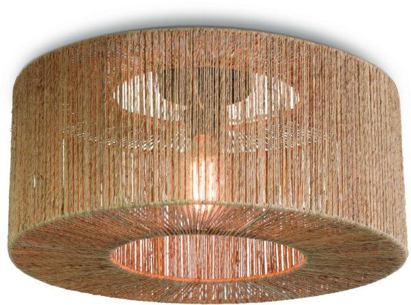 Plafonniere Iguazu jute rond/recht dia.50x22cm naturel, S Good & Mojo Plafondlamp IGUAZU/C/5022/N