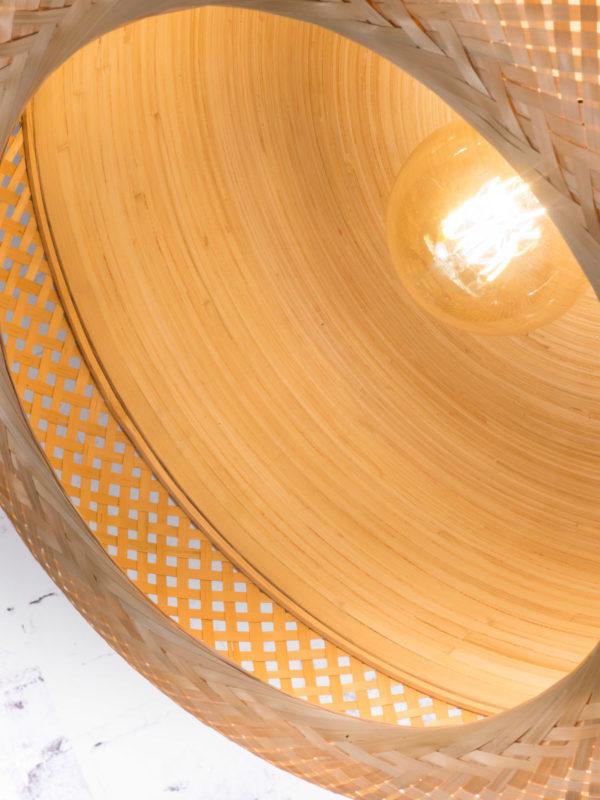 Plafonniere Mekong bamboe dia.60x33cm plat L, wit/ naturel Good & Mojo Plafondlamp MEKONG/C22/W