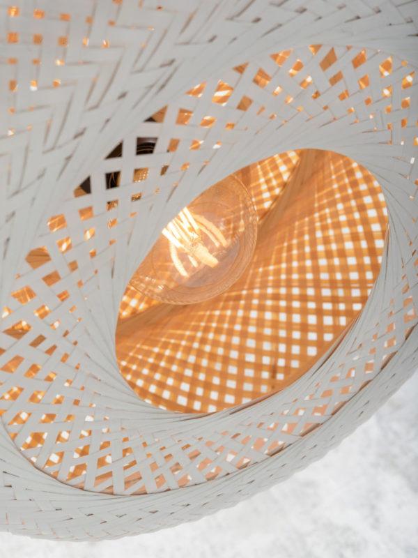 Plafonniere Palawan bamboe 60x15cm, nat./wit L Good & Mojo Plafondlamp PALAWAN/C/6015/WN