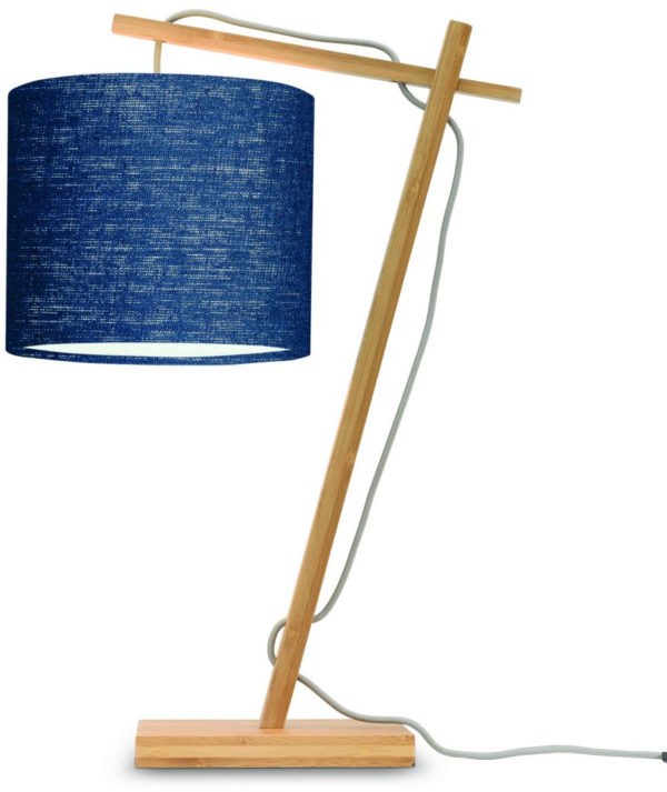 Tafellamp Andes bamboe nat. h.46cm/kap 18x15cm ecolin. bl.denim Good & Mojo Tafellamp ANDES/T/N/1815/BD