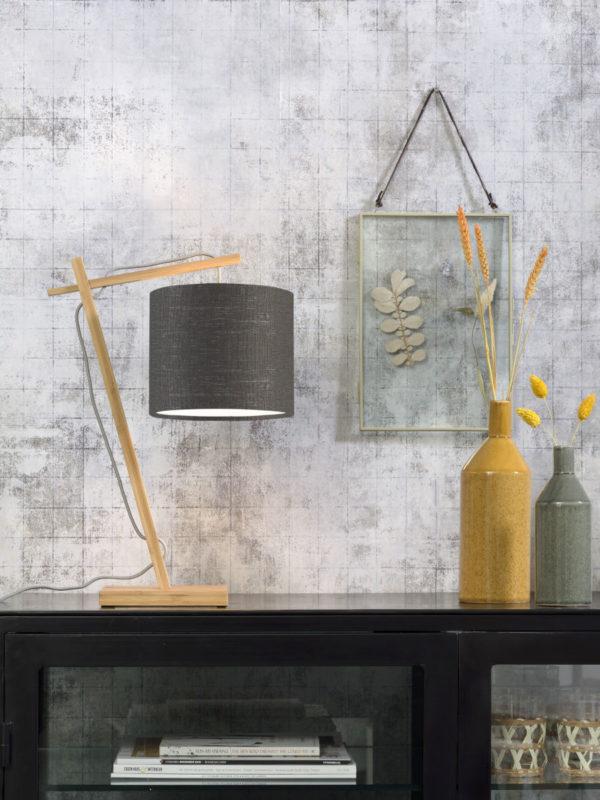 Tafellamp Andes bamboe nat. h.46cm/kap 18x15cm ecolin. d.grijs Good & Mojo Tafellamp ANDES/T/N/1815/DG