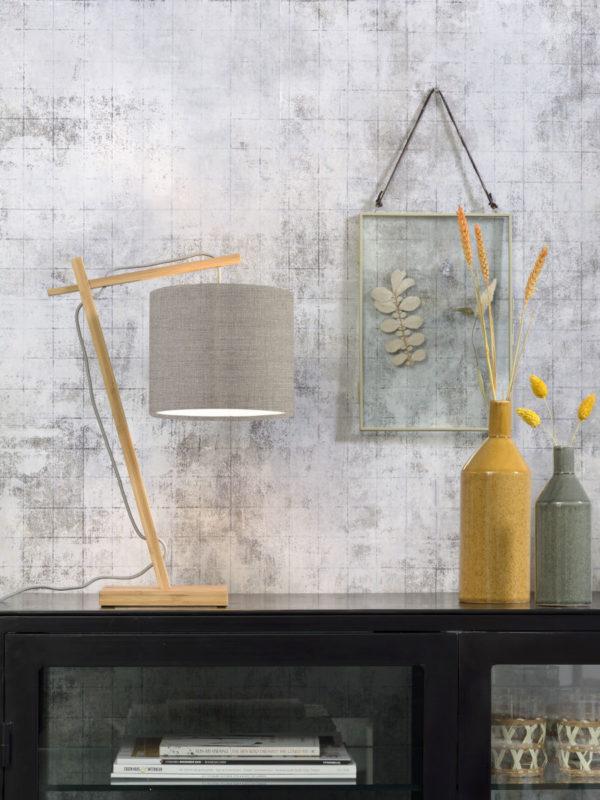 Tafellamp Andes bamboe nat. h.46cm/kap 18x15cm ecolin. donker Good & Mojo Tafellamp ANDES/T/N/1815/LD