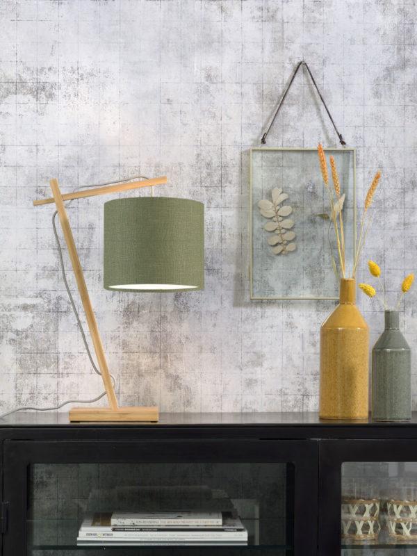 Tafellamp Andes bamboe nat. h.46cm/kap 18x15cm ecolin. gr.forest Good & Mojo Tafellamp ANDES/T/N/1815/GF