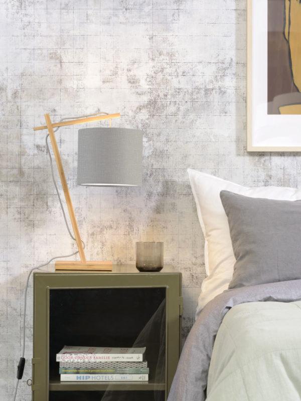 Tafellamp Andes bamboe nat. h.46cm/kap 18x15cm ecolin. l.grijs Good & Mojo Tafellamp ANDES/T/N/1815/LG