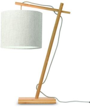 Tafellamp Andes bamboe nat. h.46cm/kap 18x15cm ecolin. licht Good & Mojo Tafellamp ANDES/T/N/1815/LL