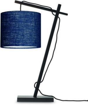 Tafellamp Andes bamboe zw. h.46cm/kap 18x15cm ecolin. bl.denim Good & Mojo Tafellamp ANDES/T/B/1815/BD