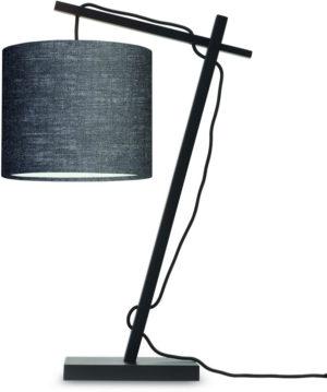 Tafellamp Andes bamboe zw. h.46cm/kap 18x15cm ecolin. d.grijs Good & Mojo Tafellamp ANDES/T/B/1815/DG