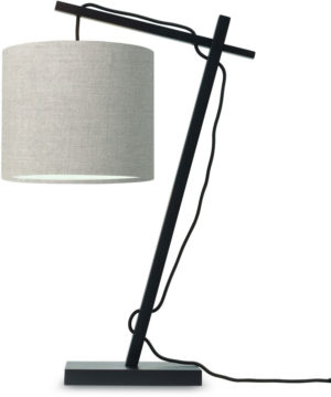 Tafellamp Andes bamboe zw. h.46cm/kap 18x15cm ecolin. donker Good & Mojo Tafellamp ANDES/T/B/1815/LD