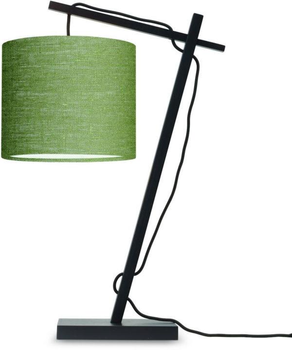 Tafellamp Andes bamboe zw. h.46cm/kap 18x15cm ecolin. gr.forest Good & Mojo Tafellamp ANDES/T/B/1815/GF