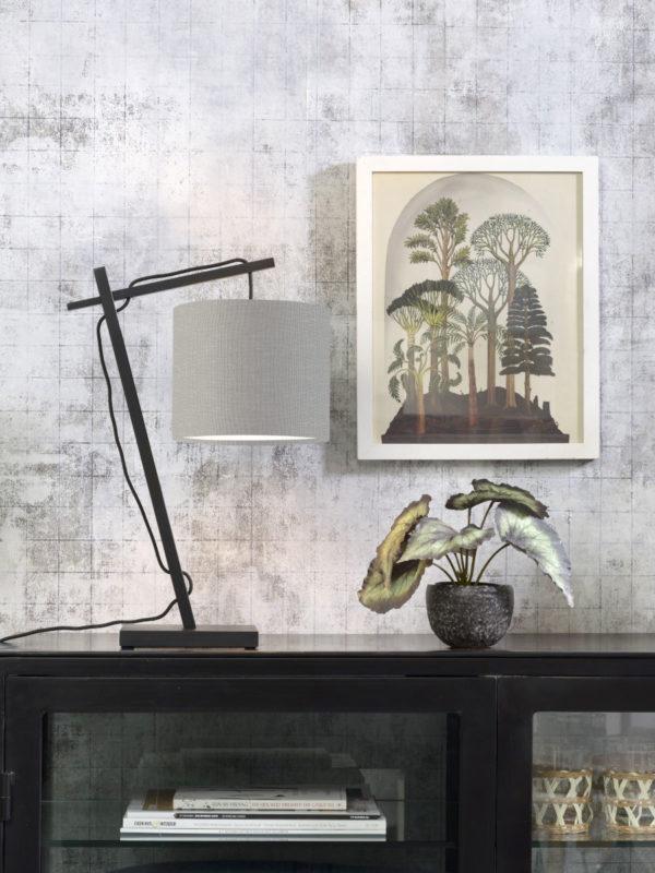 Tafellamp Andes bamboe zw. h.46cm/kap 18x15cm ecolin. l.grijs Good & Mojo Tafellamp ANDES/T/B/1815/LG