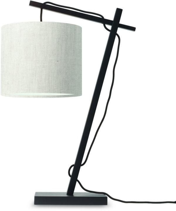 Tafellamp Andes bamboe zw. h.46cm/kap 18x15cm ecolin. licht Good & Mojo Tafellamp ANDES/T/B/1815/LL