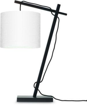 Tafellamp Andes bamboe zw. h.46cm/kap 18x15cm ecolin. wit Good & Mojo Tafellamp ANDES/T/B/1815/W