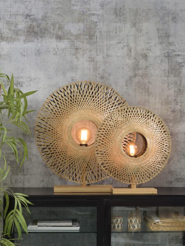 Tafellamp Kalimantan bamboe verticaal dia.44cm zw/nat, S Good & Mojo Tafellamp KALIMANTAN/T/N/4412/BN