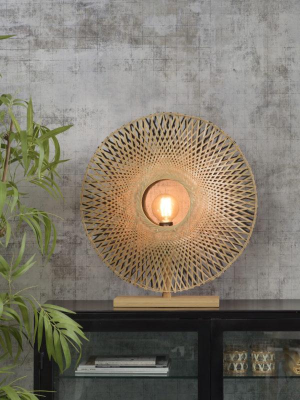 Tafellamp Kalimantan bamboe verticaal dia.60cm zw/nat, L Good & Mojo Tafellamp KALIMANTAN/T/N/6015/BN