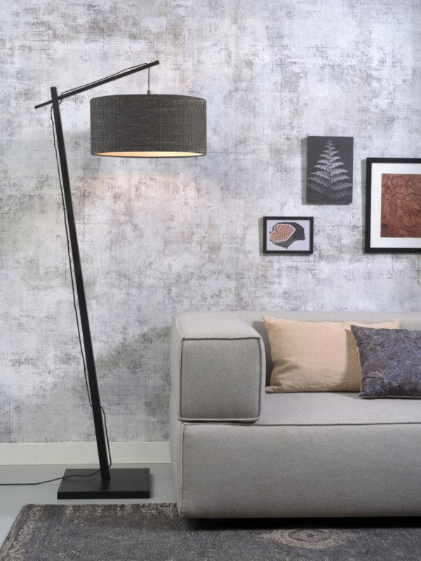 Vloerlamp Andes bamboe zw. h.176cm/kap 47x23cm ecolin. d.grijs Good & Mojo Vloerlamp ANDES/F/B/4723/DG