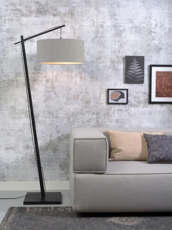 Vloerlamp Andes bamboe zw. h.176cm/kap 47x23cm ecolin. l.grijs Good & Mojo Vloerlamp ANDES/F/B/4723/LG