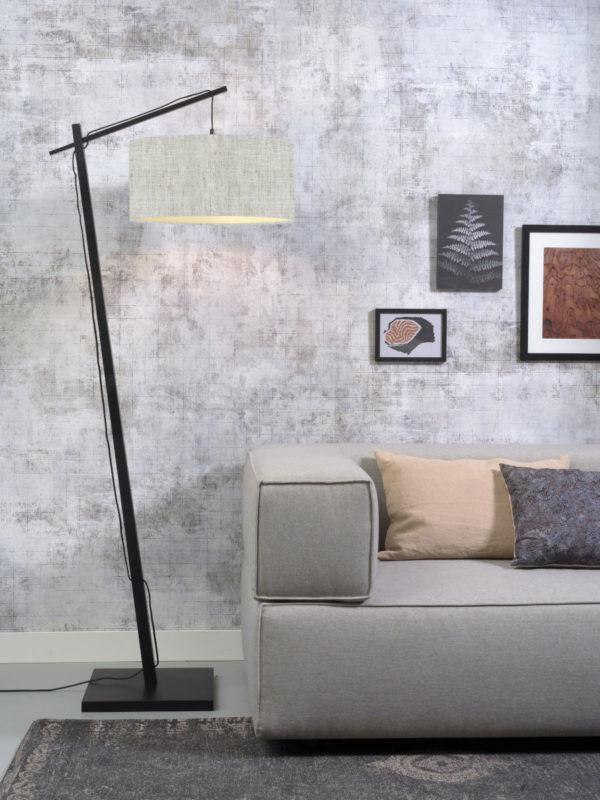 Vloerlamp Andes bamboe zw. h.176cm/kap 47x23cm ecolin. l.linnen Good & Mojo Vloerlamp ANDES/F/B/4723/LL