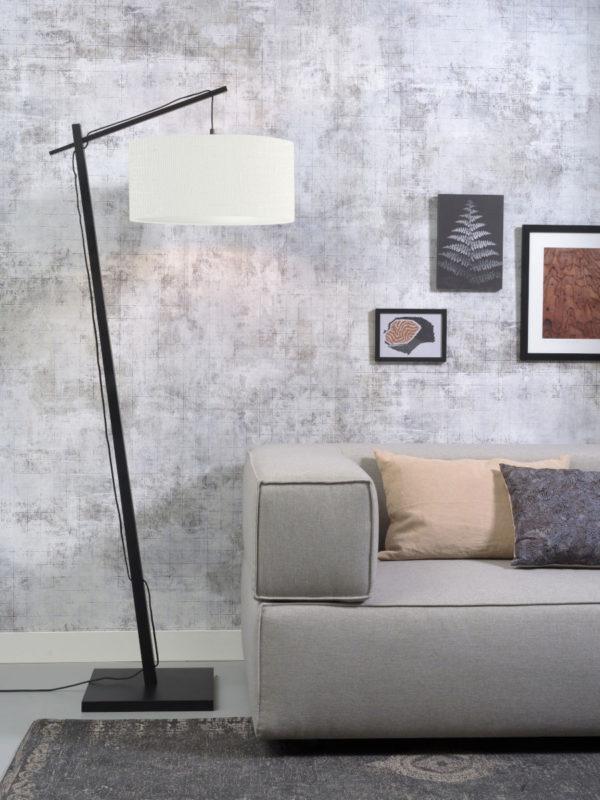 Vloerlamp Andes bamboe zw. h.176cm/kap 47x23cm ecolin. wit Good & Mojo Vloerlamp ANDES/F/B/4723/W