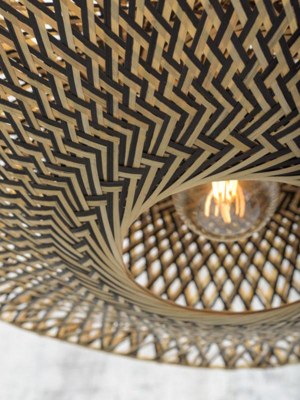 Vloerlamp Bali bamboe nat. h.207cm/kap 60x15cm zw./nat., L Good & Mojo Vloerlamp BALI/F/MB/6015/BN