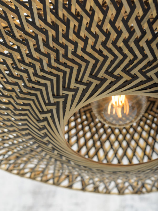Vloerlamp Bali bamboe zw. h.176cm/kap 60x15cm zw./nat. M Good & Mojo Vloerlamp BALI/F/AD/B/6015/BN