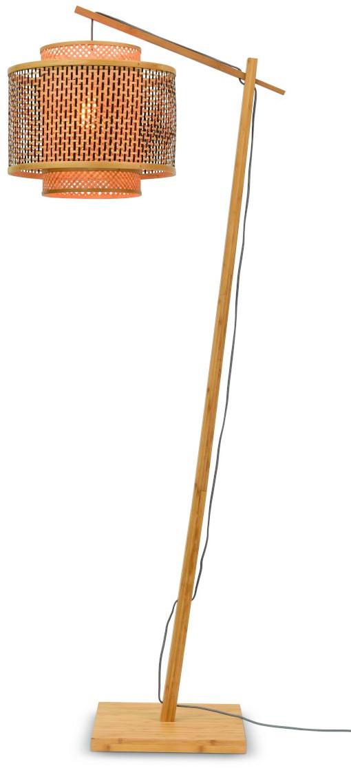 Vloerlamp Bhutan bamboe nat. h.176cm/kap 40x34cm zw./nat. S Good & Mojo Vloerlamp BHUTAN/F/AD/N/4034/BN