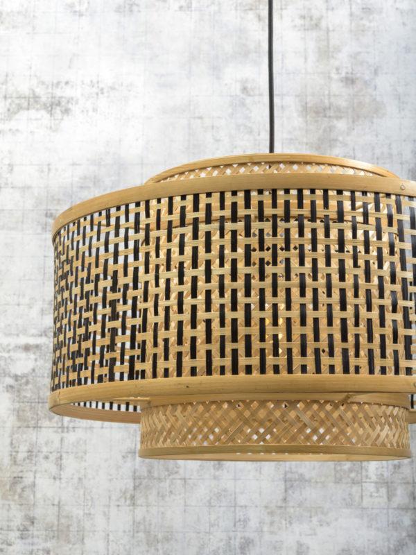 Vloerlamp Bhutan bamboe nat. h.176cm/kap 50x30cm zw./nat. L Good & Mojo Vloerlamp BHUTAN/F/AD/N/5030/BN