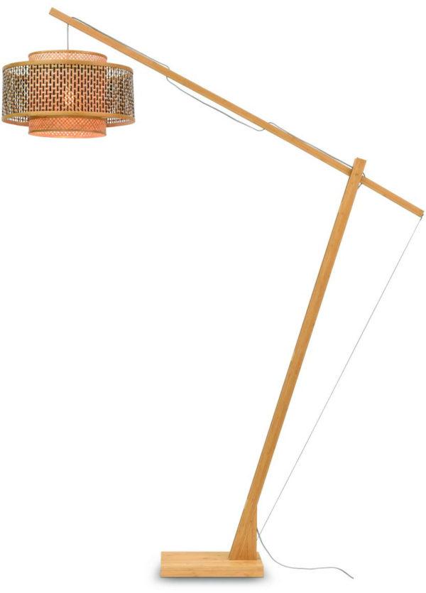 Vloerlamp Bhutan bamboe nat. h.207cm/kap 50x30cm zw./nat. Good & Mojo Vloerlamp BHUTAN/F/MB/5030/BN