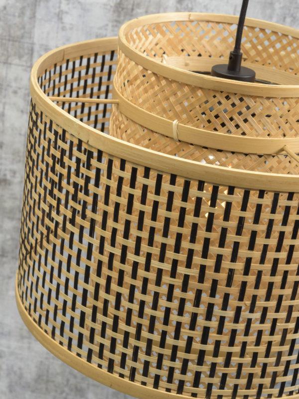 Vloerlamp Bhutan bamboe zw. h.176cm/kap 40x34cm zw./nat. S Good & Mojo Vloerlamp BHUTAN/F/AD/B/4034/BN