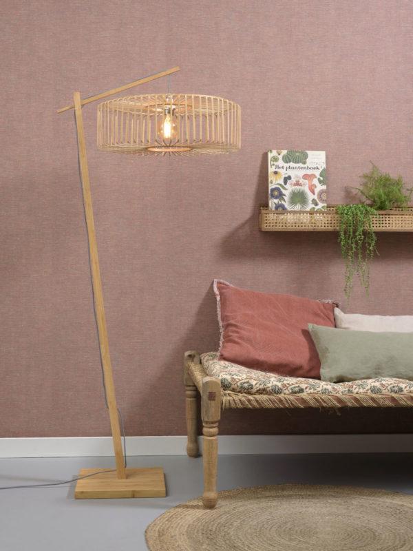 Vloerlamp Bromo bamboe nat. h.176cm/kap dia.60x18cm nat. L Good & Mojo Vloerlamp BROMO/F/AD/N/6018/N