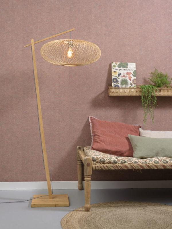 Vloerlamp Cango bamboe nat. h.176cm/kap 60x25cm zwart Good & Mojo Vloerlamp CANGO/F/AD/N/6025/N