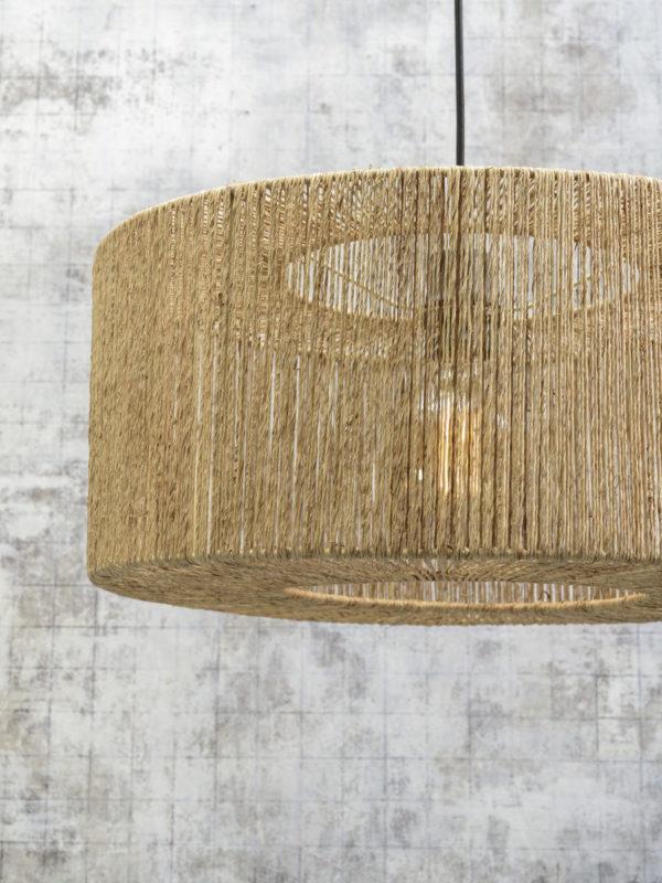 Vloerlamp Iguazu bamboe zwart/jute h.176cm/kap 50x22cm naturel S Good & Mojo Vloerlamp IGUAZU/F/AD/B/5022/N