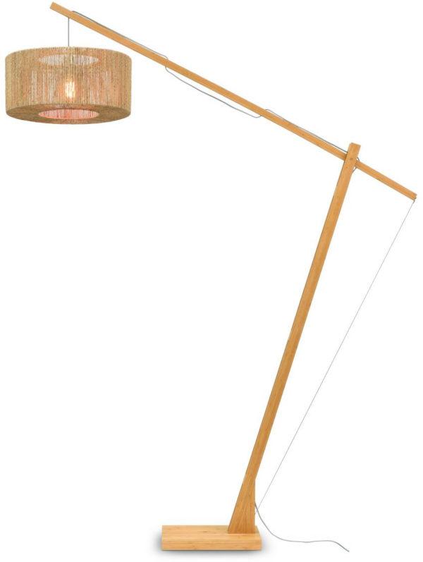 Vloerlamp Iguazu bamboe/jute h.207cm/kap dia.50x22cm nat. Good & Mojo Vloerlamp IGUAZU/F/MB/5022/N