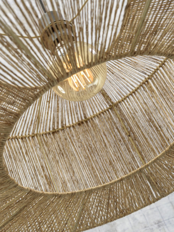 Vloerlamp Iguazu bamboe/jute h.207cm/kap dia.50x22cm nat. Good & Mojo Vloerlamp IGUAZU/F/MB/6025/N