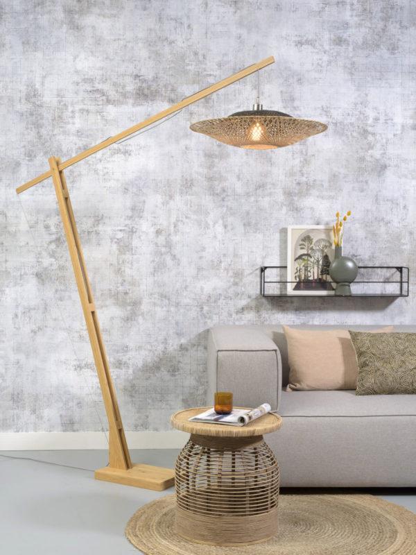 Vloerlamp Kalimantan bamboe h.207cm/kap horiz.60x15cm zw/nat. Good & Mojo Vloerlamp KALIMANTAN/F/MB/15/BN