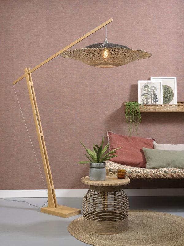 Vloerlamp Kalimantan bamboe h.207cm/kap horiz.87x20cm zw/nat. Good & Mojo Vloerlamp KALIMANTAN/F/MB/20/BN