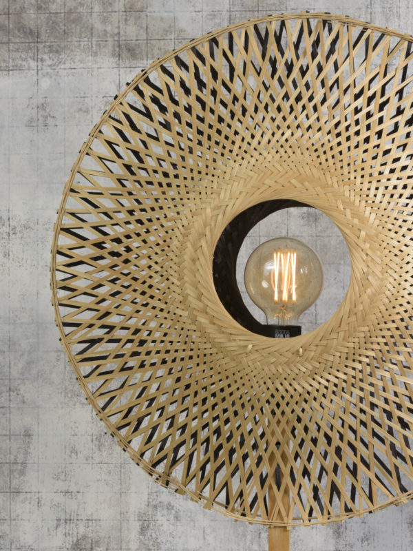 Vloerlamp Kalimantan bamboe naturel h.170cm/kap vertic. 44x12cm z/n, S Good & Mojo Vloerlamp KALIMANTAN/F/N/4412/BN