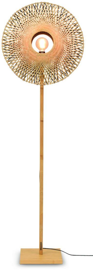 Vloerlamp Kalimantan bamboe naturel h.180cm/kap vertic. 60x15cm z/n, M Good & Mojo Vloerlamp KALIMANTAN/F/N/6015/BN