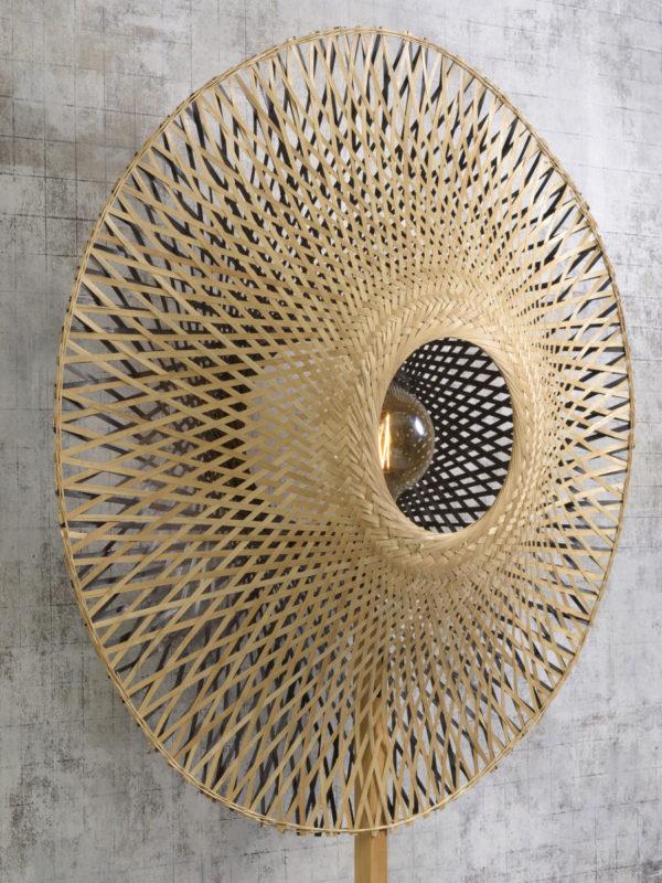 Vloerlamp Kalimantan bamboe naturel h.195cm/kap vertic. 87x20cm z/n, L Good & Mojo Vloerlamp KALIMANTAN/F/N/8720/BN