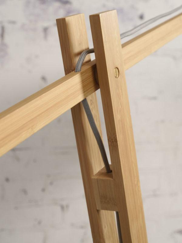 Vloerlamp Montblanc bamboe h.207/kap 60x30cm eco linnen, blue denim Good & Mojo Vloerlamp MONTBLANC/F/6030/BD